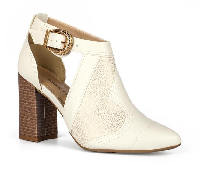a7c2c2681 Sapato Dakota Salto Bloco Bico Fino Branco - Dakota