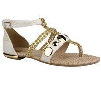 Sandália Tanara  rasteira ouro com branco