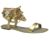 Sandália rasteira  Tanara dourada