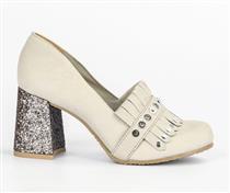 Sapato Tanara  salto alto cinza com salto glitter